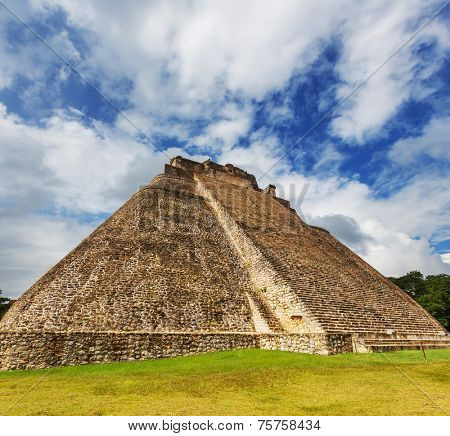 The Pyramid of the Magician (El Adivino) is the central structure in the Maya ruin complex of Uxmal.