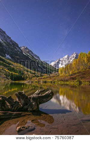 Maroon Bells At Night With Visible Milky Way Aspen Colorado