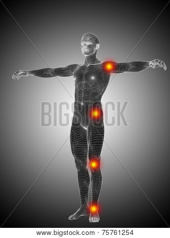 Concept or conceptual 3D human anatomy mesh or wireframe body with pain, ache over black white background, metaphor to health, medicine, medical, biology, osteoporosis, arthritis, joint, inflammation