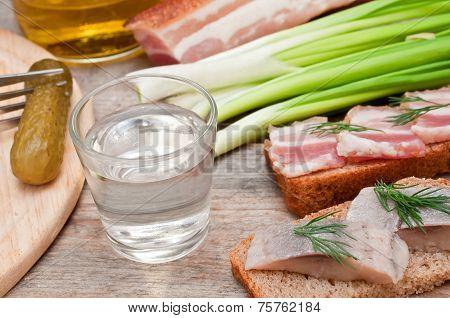 Vodka, Green Onion, Cucumber And Herring