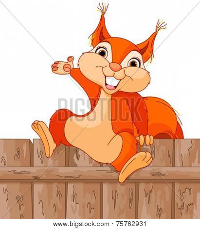 llustration of funny squirrel jumps over a fence