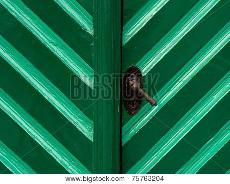 Old Wooden Door In Turquoise Color