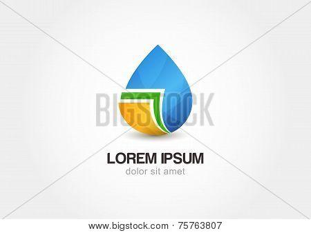 Abstract Drop And Sheets Vector Logo Design Template. Creative Concept Icon