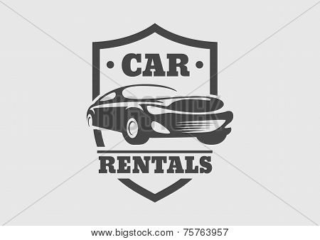 Vintage Style Car Rentals Label Template. Vector Logo Design Template