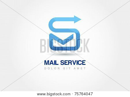 Abstract Design Concept For Mail Service. Vector Logo Template. Sending Message Icon