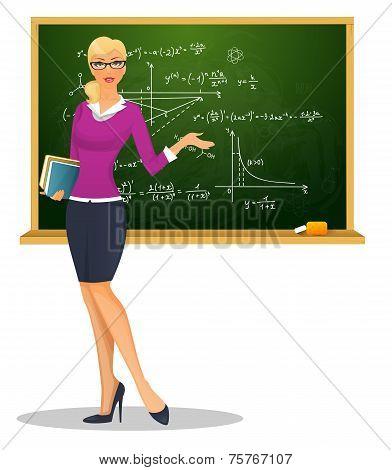 Female teacher with blackboard