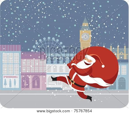 Santa Claus delivering gifts in London