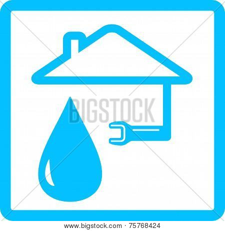 Water Icon With Drop And Wrench