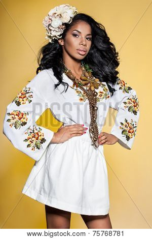 Afro Ukrainian girl in embroidery (Ukrainian national dress)