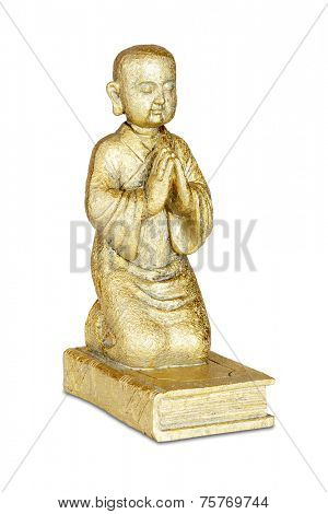 Gold buddha statue isolated over white with clipping path