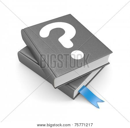 Books with question and bookmark