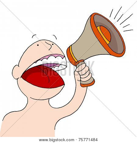 An image of a bullhorn announcer.