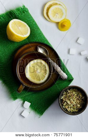 Linden Tea In Brown Cup