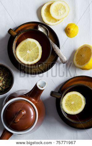 Linden Tea In Brown Cups