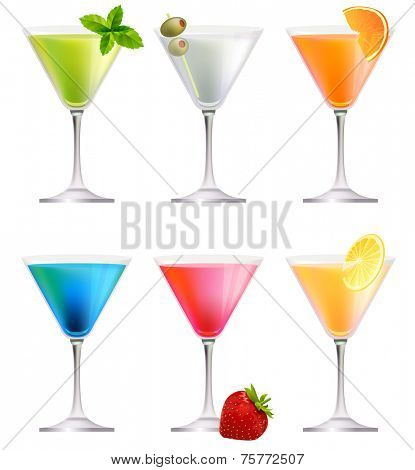 Set with detailed cocktails isolated on white. Vector illustration