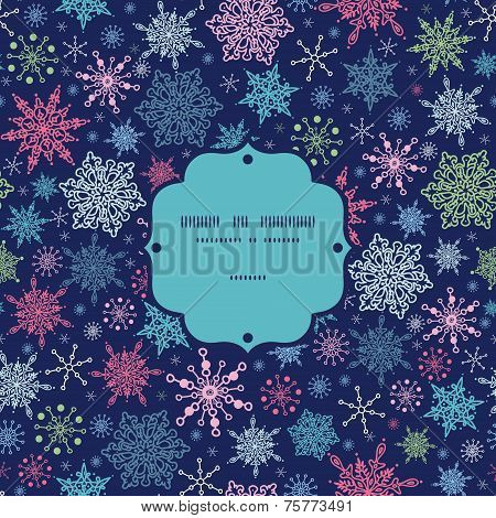 Vector snowflakes on night sky Christmas snowflake silhouette pattern frame card template