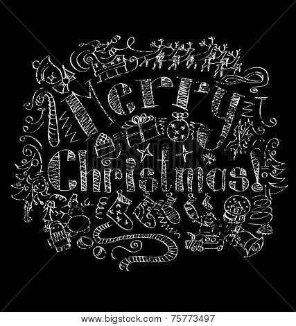 Vector calligraphic text Merry Christmas as card title