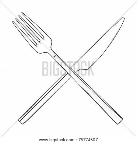 Crossed Fork And Knife Isolated On A White Background. Cutlery Concept. Hand Drawn Line Art. Retro D
