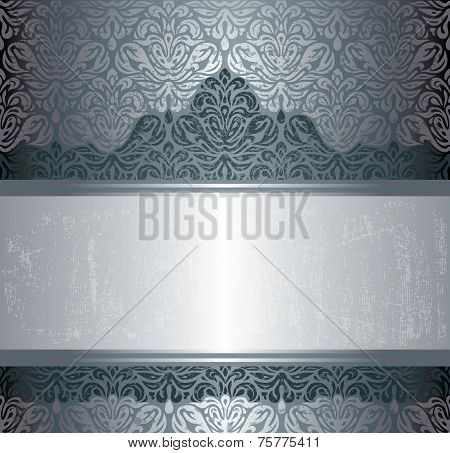 Dark Silver luxury vintage invitation background design