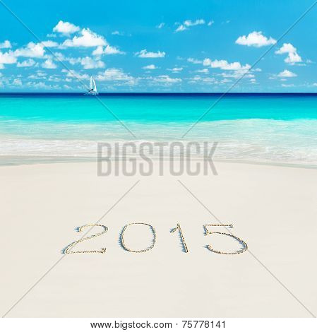 Yacht At Tropical Beach And 2015 Happy New Year Sandy Caption. Season Vacation Concept.