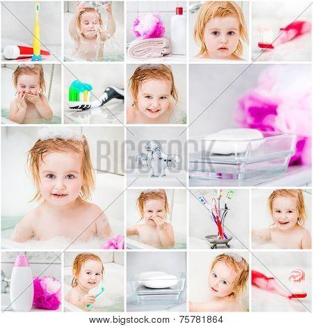 collage photo. little cute girl takes a bath