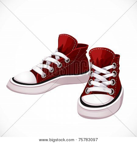 Red Sports Sneakers With White Laces Isolated On White Background