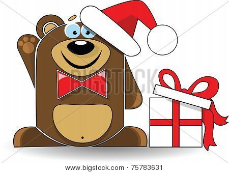 Cute illustration of christmas bear with gift box.