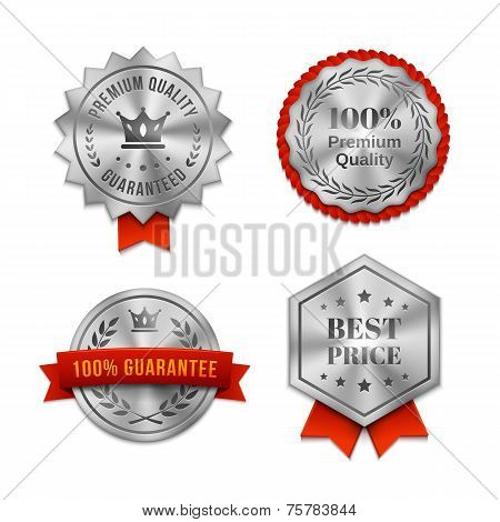 Silver metallic Quality badges or labels