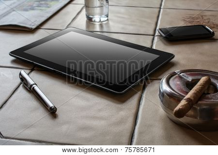 Business Work With Tablet, Smartphone And Cigar