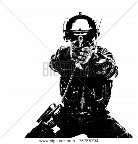 Spec ops soldier with pistol