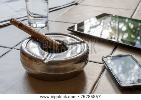 Business Work With Cigar, Tablet And Smartphone