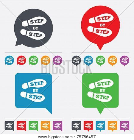 Step by step sign icon. Footprint shoes symbol.