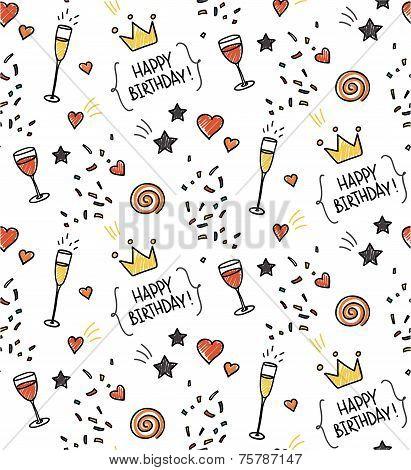 Hand drawn seamless doodle pattern, birthday theme