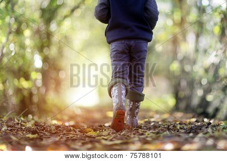 Boy walking on country footpath in autumn concept for healthy lifestyle