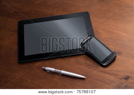 Telework With Tablet, Smartphone And Pencil