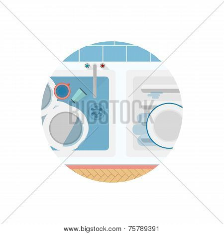 Flat vector icon for Kitchen sink