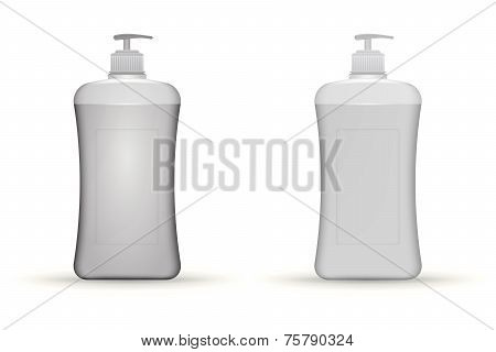Vector illustration of gray dispenser pump bottles mock up