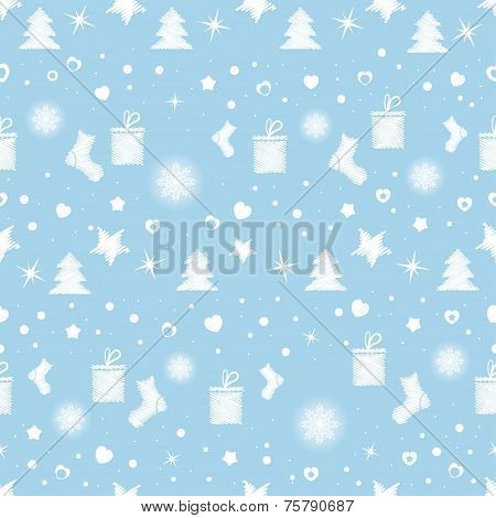 Christmas Seamless Pattern With White Toys