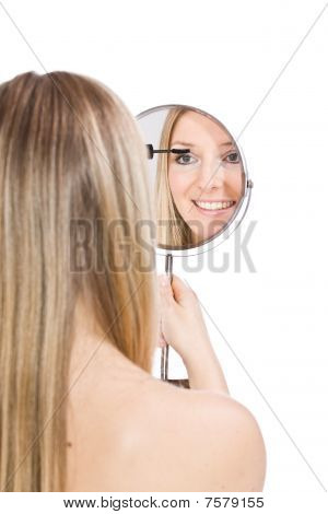 Woman Makeup In Mirror