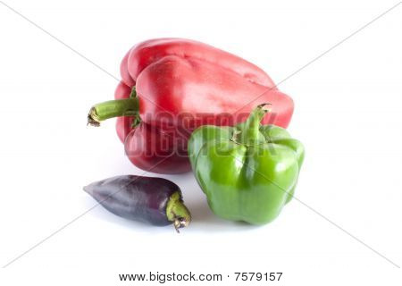 Three Many-coloured Sweet Peppers