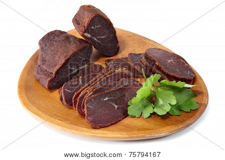 Basturma, Dried Fillet Of Beef Meat, Cut Into Thin Slices.