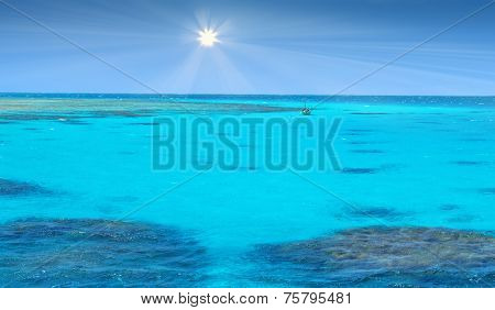 Crystal clear blue coral water of a Red Sea