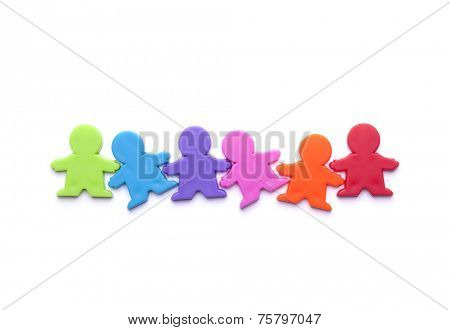 Colorful people figures isolated on white
