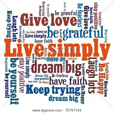 Live Simply in word collage