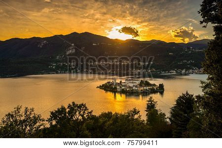 San Giulio Island Sunset Hdr Version