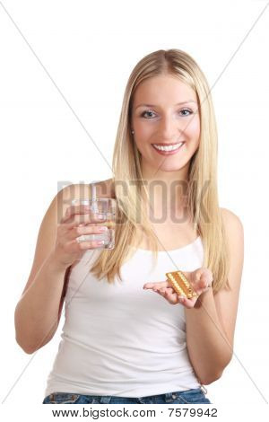 Woman with birth control pills