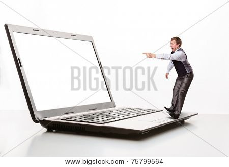 Afraid man points to the monitor
