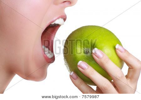 Biting an apple