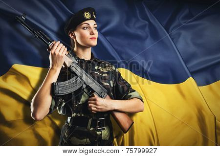 Army girl in military uniform