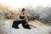picture of qigong  - Woman with beautiful style practicing Tai chi in a natural desert environment - JPG